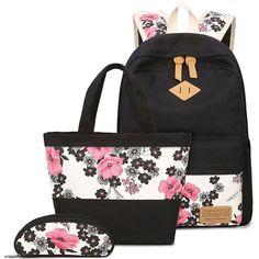 351f99dec6eb Unique Ink Wash Painting Pink Flower School Bag Girl s Black Canvas Large  Floral Rose Student Backpack