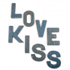 Distressed Wooden Letters Wall Art - Love or Kiss Available