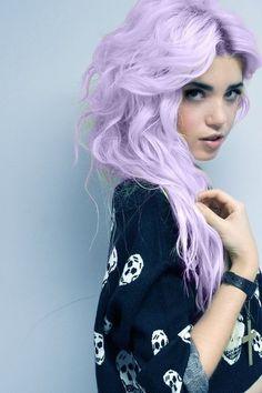 Pastel lilac long hair