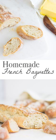 Homemade French Baguettes (Mon Petit Four) French Baguette Recipe, Easy Cooking, Cooking Recipes, Artisan Bread, French Food, Clean Eating Snacks, Bread Recipes, Yummy Food, Delicious Dishes