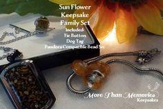 Sun Flower Keepsake Family Set includes tie button, dog tag, Pandora compatible bead set http://abanister1.wixsite.com/morethanmemories