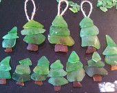 Beach Glass Ornaments Christmas Trees Set of Three by AQUALANI