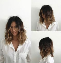 This Undone Voluminous Wavy Lob with Brunette Balayage and Soft Layers is a great cut for someone seeking versatility. This lob can be styled sleek and straight, with textured waves or curls, or with a simple blowout for body and movement. Wavy Bob Long, Short Wavy Hair, Long Bobs, Long Bob Layered Haircut, Mid Length Layered Hairstyles, Medium Wavy Hairstyles, Messy Wavy Hair, Layered Lob, Short Hair Waves