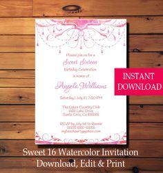 Sweet Sixteen Invitation Sweet 16 Party Invitation Watercolor Flowers Printable Instant Download Invitation by LilGingerPrintShop on Etsy