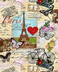 Postcard from Paris ♡ Decoupage Vintage, Decoupage Paper, Vintage Cards, Vintage Paper, Vintage Postcards, Deco France, Paris Quilt, Image Paris, Retro