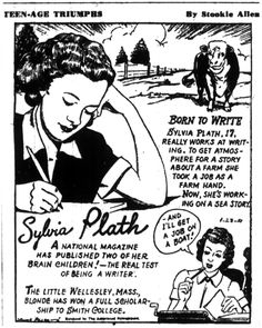 [blog post] On 24 February 1951, Sylvia Plath wrote a postcard home to her mother from Haven House at Smith College about seeing a cartoon about her posted on the community bulletin board in College Hall.
