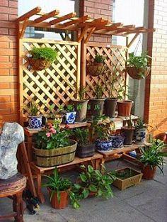 日本实木花架 阳台户外花架 杉木花架 木质花架双层花台 庭院花房