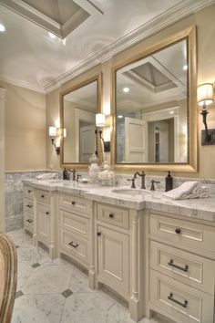 GOLD.bathroom. Add a fresh coat of beige on the walls and hang some gold framed mirrors, and your bathroom will feel instantly glam.