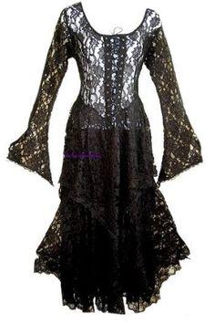 Long Black Lace Gothic Pagan Dress by sheila.moose