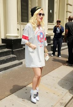 Rita Ora street style - jersey dress and [wedge] sneakers