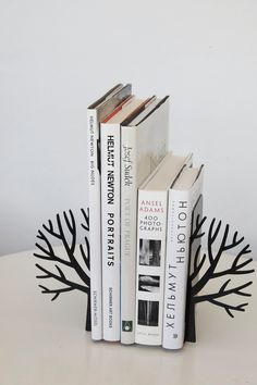 Minimalistic bookends - Winter trees - Scandinavia inspired item black or white color