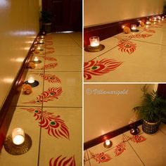 My favourite festival is almost here and I'm so excited to be doing all the decorating, partying etc etc...! Its so much fun to get together with friends and family and just have a good time! In the spirit of this beautiful season, I will be sharing some offbeat Diwali decor ideas...you can also che Rangoli Borders, Rangoli Border Designs, Colorful Rangoli Designs, Rangoli Ideas, Rangoli Designs Diwali, Rangoli Designs Images, Diwali Rangoli, Beautiful Rangoli Designs, Rangoli Patterns
