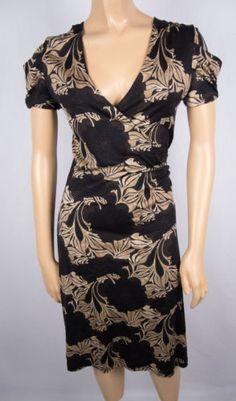 BANANA REPUBLIC Wrap Dress XS Black Brown Leaf Print Lightweight Silk Wool Blend