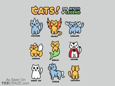 Cats Of Myth And Legend T-Shirt - http://teecraze.com/cats-of-myth-and-legend-t-shirt/ -  Designed by geekfactor12    #tshirt #tee #art #fashion #clothing #apparel