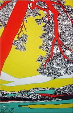 Marimekko 'Ho Hoi' fabric wall art in yellow, orange and green Marimekko Fabric, Wild Wolf, Condo Decorating, Textiles, Fabric Wall Art, Gravure, Texture Art, Orange, Yellow
