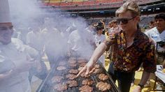 """getmegingerdoctor: """" David Bowie attends a barbecue for his crew July 27, 1987, at Veterans Stadium in Philadelphia, where he kicked off the U.S. portion of his """"Glass Spider"""" tour. (AP Photo/Charles Krupa ) """""""