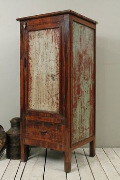 Antique Industrial Rustic Green Indian Storage Bar Kitchen Bathroom Cabinet w…