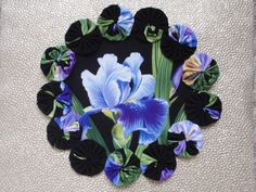 Purple and Blue Iris II Doily Candle Mat by SursyShop on Etsy, $8.00