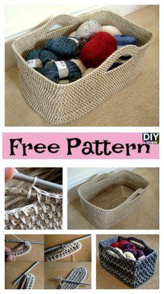 Useful Crochet Rectangle Basket – Free Pattern #freepattern #crochetbaskets #crochetpattern #freecrochetpatterns