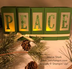 Stampin Up Large Letter Framelits Peace Luminaries for Christmas Home decor idea - Jeanie Stark StampinUp Light Letters, Diy Letters, Large Letters, Diy Christmas Cards, Christmas Crafts, Christmas Decorations, Christmas Stuff, Mary Fish, Stampin Pretty