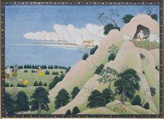 Du haut d'un arbre, Laksmana aperçoit l'amrée de Bharata, Ecole moghole sub-impériale, vers 1595- 1605. Gouache et or sur papier. National Museum, New Delhi. http://www.ramayanabook.com/