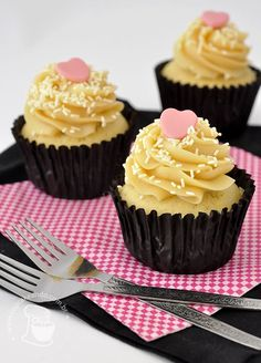 White Chocolate Cupcakes with Caramel Frosting