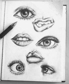 Eyes and lips drawings. Art Sketch book.