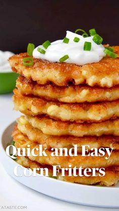 Simple Corn Fritter Recipe, Corn Fritter Recipes, Corn Recipes, Corn Fritters Recipe With Pancake Mix, Corn Fritters Recipe Bisquick, Recipe Fritter, Cornmeal Recipes, Recipies, Quick Recipes
