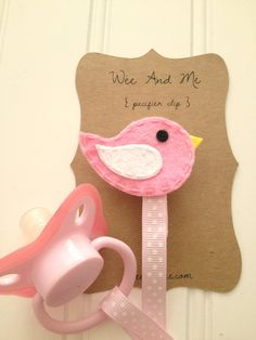 Pink & White Bird - Felt Pacifier Clip - Handmade Baby Accessories by Wee and Me. $8.00, via Etsy.