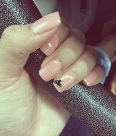 """Gelish """"Nude"""" with a cute heart design."""