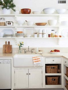 Decorative shelves and kitchen utensils