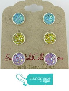 Trio Silver-Tone Stud Earrings 8mm Lavender AB Yellow Blue Faux Druzy Stone from Summerfield Collection https://www.amazon.com/dp/B01N0WGII2/ref=hnd_sw_r_pi_dp_p17BybG6WP0RA #handmadeatamazon