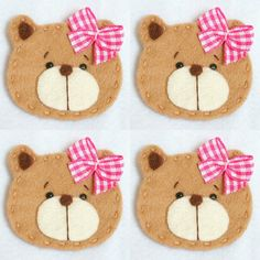 Set of 4 Handmade Pet Felt Applique Baby Girl Bear