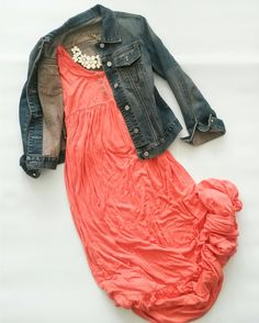 BB Dakota dress, Gap jean jacket,white statement necklace, all thrifted outfit of the day for sale at Jupe du Jour