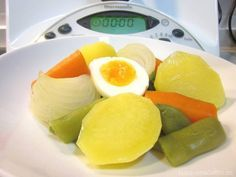 Cómo hacer un hervido en Thermomix: judías verdes, zanahoria, patatas, cebolla y huevo, programar la cocción y listo para servir!