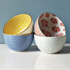 New Modern Bowls from West Elm.  #brights #patterns #bowls #tableware