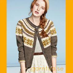 Bilderesultat for nancy kofte gul grå Fair Isle Knitting, Knitting Yarn, Baby Knitting, Crochet Cardigan, Knit Crochet, Cardigan Design, Fabric Embellishment, How To Purl Knit, Knit Fashion