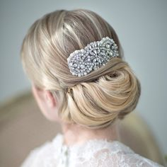 This beautiful barrette finishes of this classic updo perfectly! #BridalFantasy