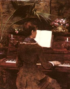 """Painting of the Day! Louise Abbema (1858-1927) """"At the Piano"""" Oil on canvas To see more works by this artist please visit us at: http://www.artrenewal.org/pages/artwork.php?artworkid=14102&size=large"""