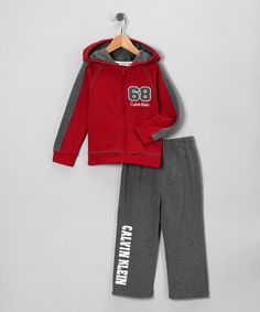 Take a look at this Red & Gray Hoodie & Pants - Toddler by Calvin Klein Boys on #zulily today!