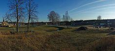 2013 12 10 Weverslabyrint: locatie in het park vanaf het hoogste punt van het toekomstige openluchttheater.