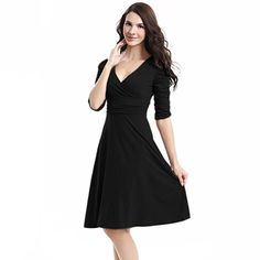 838cf7e93d0 TINYHI 3 4 Sleeve Ruched Waist Elegant V-neck Casual Party Dress at Amazon  Women s Clothing store