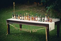 Whiskey bar idea - but only for samples - not shots - no need to have shit canned guests. maybe a little description of each whiskey/scotch and their attributes?? @Ashley Clinger