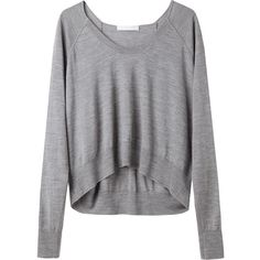 Alexander Wang Merino Cropped Pullover ($180) ❤ liked on Polyvore featuring tops, sweaters, shirts, jumpers, sweater pullover, sleeve shirt, scoop neck shirt, raglan sweater and cropped sweater