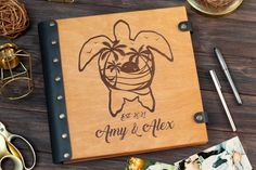 Wedding Photo Album Turtle Nautical Scrapbook Album Travel | Etsy
