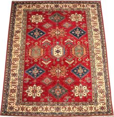 Today's Kazak is a modern shape of old Caucasian rugs which strictly adheres to traditional design elements of the Caucasus. It has elements such as the stepped hooked polygons, geometrical medallions and rosettes, presented in more stylized manner and with a new dimension.  http://www.alrug.com/4618