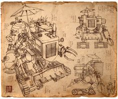 Cleaned up sketch of my old Steampunk Harvester @jamesngart #Steampunk