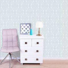 Jasmine Damask Glitter Wallpaper - Blue - http://godecorating.co.uk/jasmine-damask-glitter-wallpaper-blue/