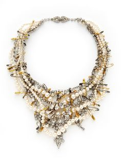 Crystal & Two-Tone Safety Pin Bib Necklace
