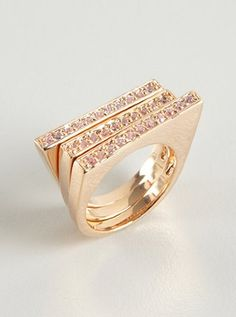 elise ... 3 set rose gold & cubic zirconia stackable rings ... comes also in gold